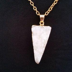 Boho Gold Plated Druzy Triangle Necklace